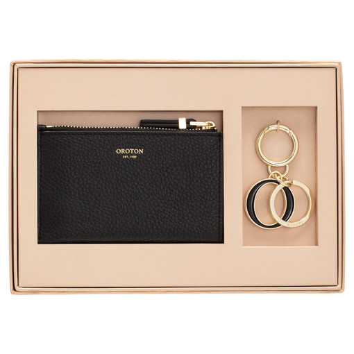 Oroton Anna Mini 4 Credit Card Wallet And Key Ring Set in Black and Pebble Leather for female