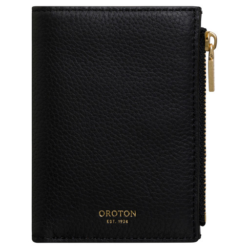 Oroton Duo Mini 10 Credit Card Zip Wallet in Black and Pebble Leather for female