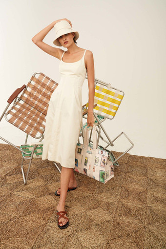 Oroton Structured Sundress in Cream and 100% Cotton for female