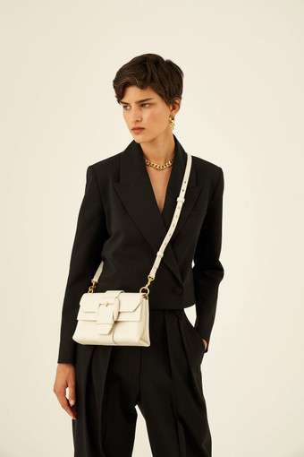 Oroton Frida Mini Satchel in Clotted Cream and Smooth Leather for female