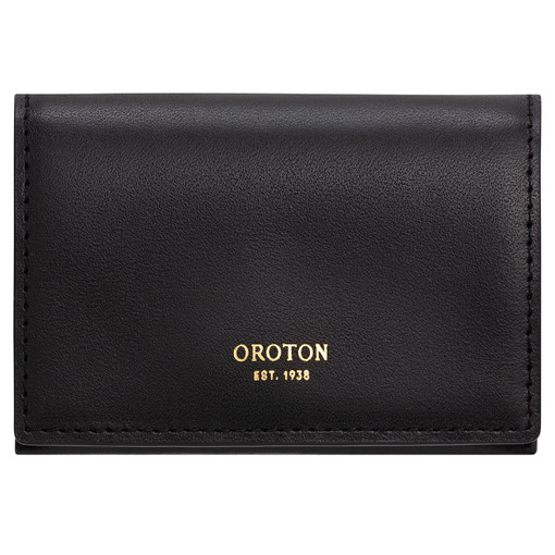 Oroton Alexis Multi Gusset Card Holder in Black and Smooth Leather for female