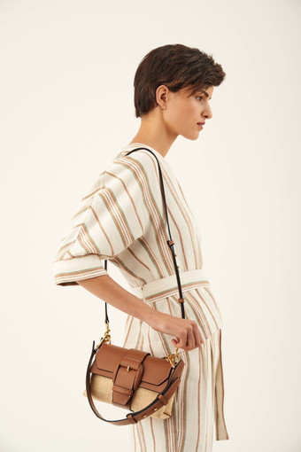 Oroton Frida Collectable Mini Satchel in Umber/Natural and Woven Straw/Smooth Leather for female