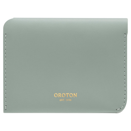 Oroton Charlie 4 Credit Card Holder in Sage and Smooth Leather for female