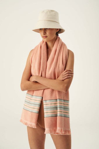 Oroton Fred Beach Towel in Rose Stripe and 80% Cotton 20% Polyester for female