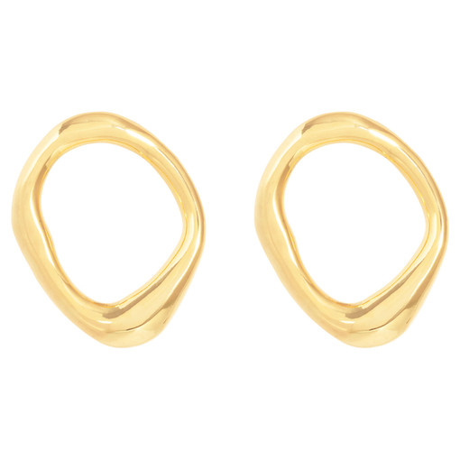 Oroton Ecru O Studs in Gold and Brass Base Metal for female