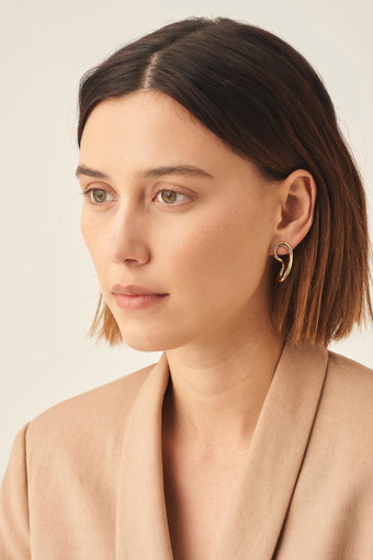 Oroton Ecru Twisted Hoops in Gold and Brass Base Metal for female