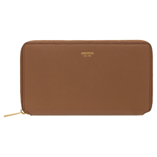 Oroton Alva Book Wallet in Bran and Pebble Leather for female