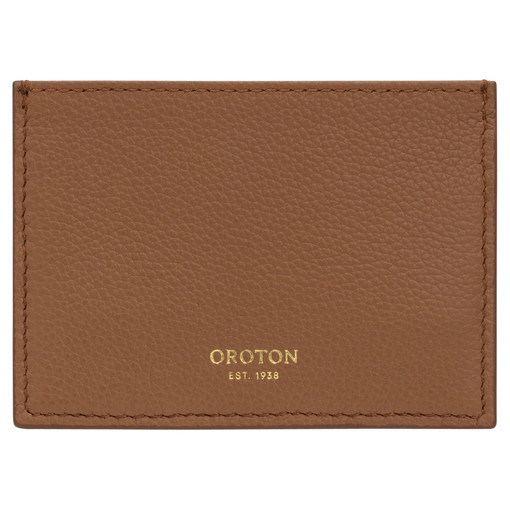 Oroton Alva 3 Credit Card Sleeve in Bran and Pebble Leather for female