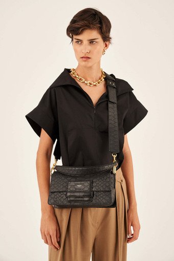Oroton Alva Luxe Day Bag in Black and Snake Embossed Leather for female