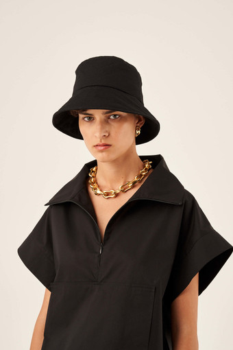 Oroton Alva Quilted Hat in Black and 100% Cotton for female