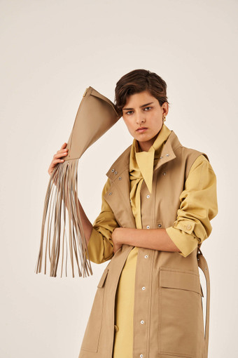 Oroton Aspen Clutch in Khaki and Smooth Leather for female