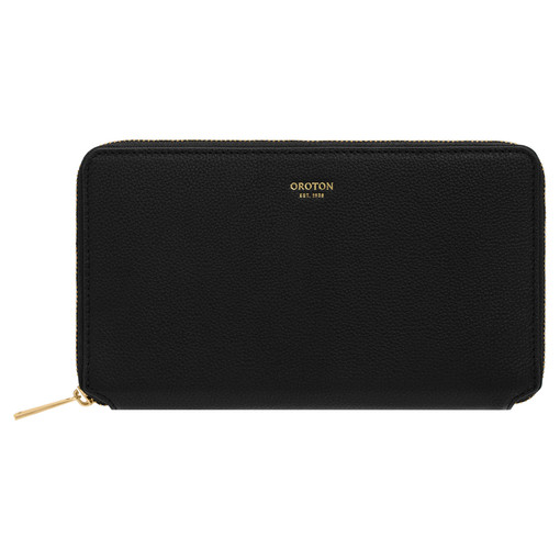 Oroton Alva Book Wallet in Black and Pebble Leather for female