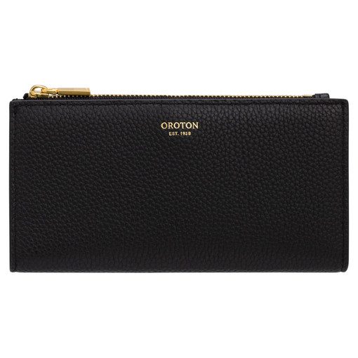 Oroton Malin Slim Zip Wallet in Black and Pebble Leather for female