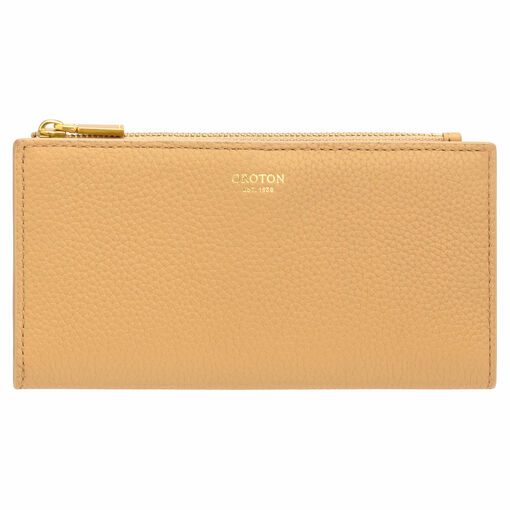 Oroton Malin Slim Zip Wallet in Maize and Pebble Leather for female
