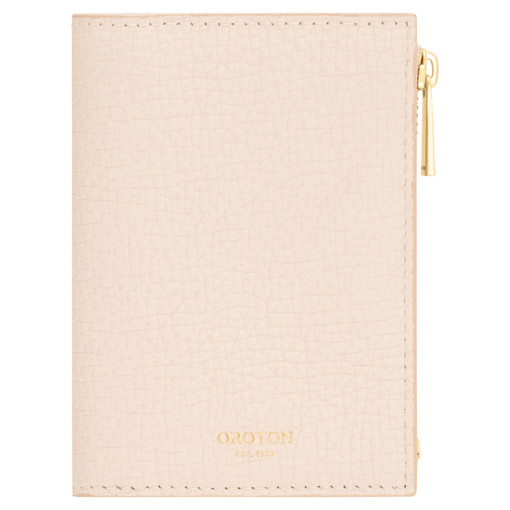 Oroton Maple Mini 10 Credit Card Zip Wallet in Bone and Pebble Leather for female