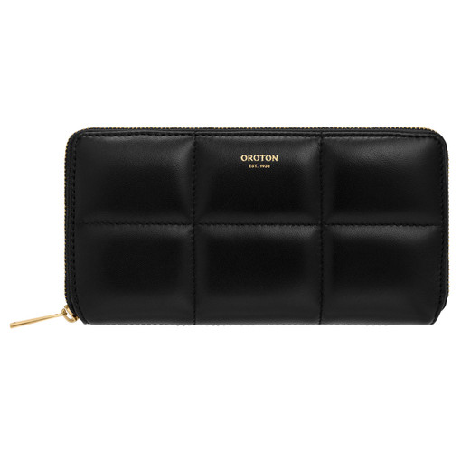 Oroton Freja Medium Zip Wallet in Black and Smooth Leather for female