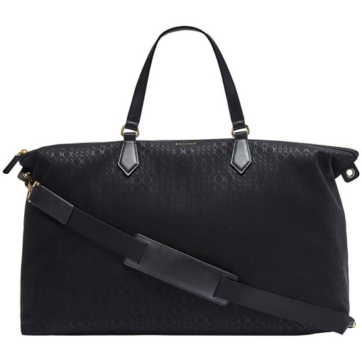 Oroton Signet Weekender in Black and Jacquard Fabric / Vachetta Leather for female