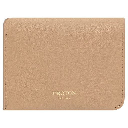Oroton Charlie 4 Credit Card Holder in Khaki and Smooth Leather for female