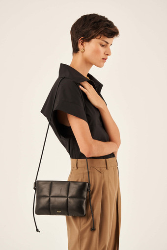 Oroton Freja Crossbody in Black and Smooth Leather for female