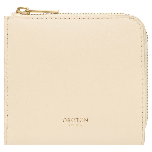 Oroton Charlie Side Zip Wallet in Vanilla and Smooth Leather for female
