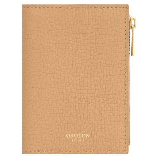 Oroton Maple Mini 10 Credit Card Zip Wallet in Sahara and Pebble Leather for female