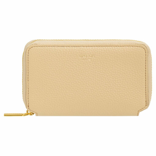 Oroton Duo Mini Book Wallet in Blonde and Pebble Leather for female