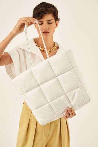 Oroton Freja Large Tote in Pure White and Smooth Leather for female