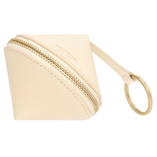 Oroton Charlie Diamond Keyring in Vanilla and Smooth Leather for female