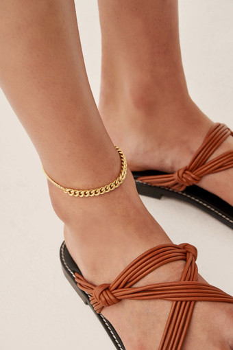 Oroton Felix Anklet in Worn Gold and Brass Base Metal With Precious Metal Plating for female