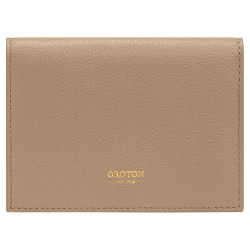 Oroton Frida Soft Small Fold Wallet in Khaki and Pebble Leather for female