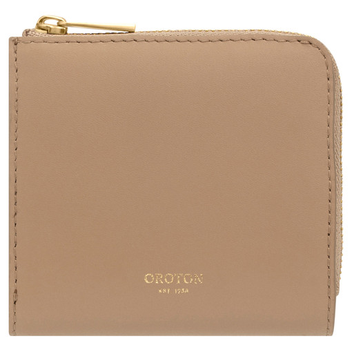 Oroton Charlie Side Zip Wallet in Khaki and Smooth Leather for female