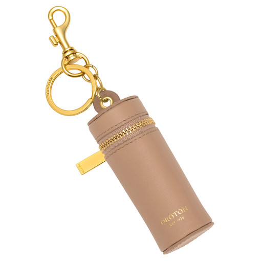 Oroton Charlie Lipstick Keyring in Khaki and Smooth Leather for female