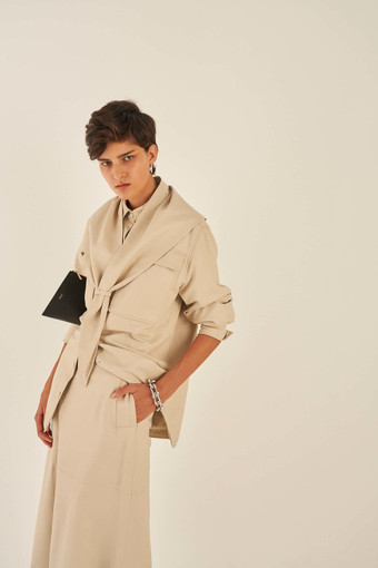Oroton Leather Scarf in Bone and 100% Leather for female