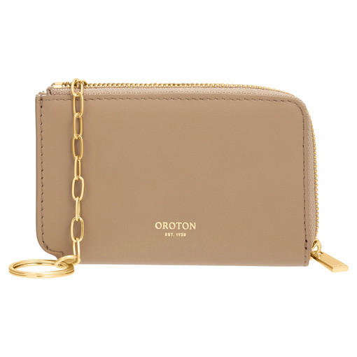 Oroton Charlie Key Holder in Khaki and Smooth Leather for female
