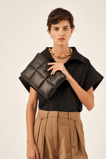 Oroton Freja Large Clutch in Black and Smooth Leather for female