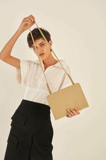 Oroton Duo Crossbody in Blonde and Pebble Leather for female