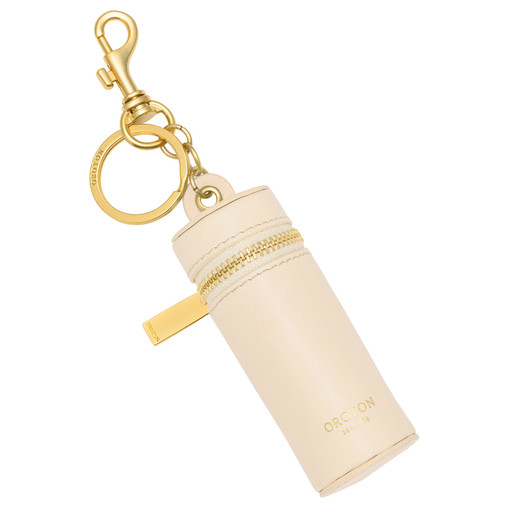 Oroton Charlie Lipstick Keyring in Vanilla and Smooth Leather for female