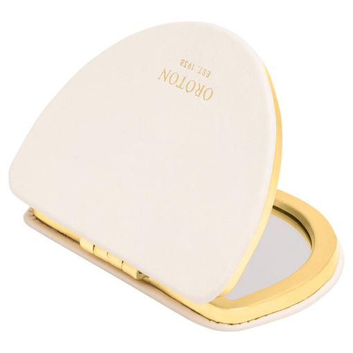 Oroton Ivy Compact Mirror in Paper White and Smooth Leather for female