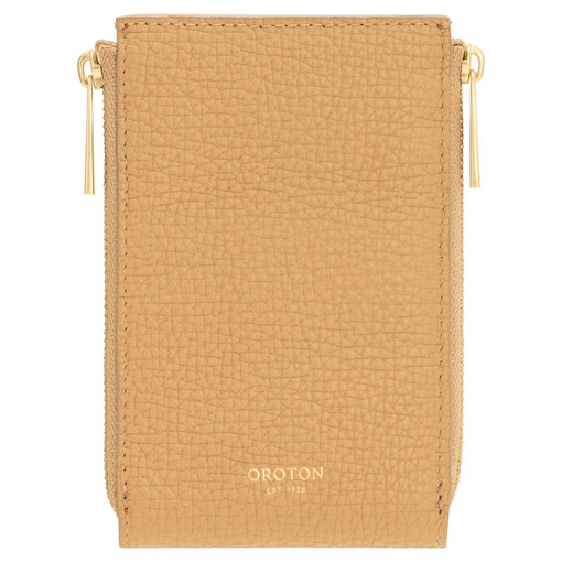Oroton Maple 4 Credit Card Double Zip Wallet in Sahara and Pebble Leather for female