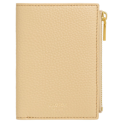 Oroton Duo Mini 10 Credit Card Zip Wallet in Blonde and Pebble Leather for female