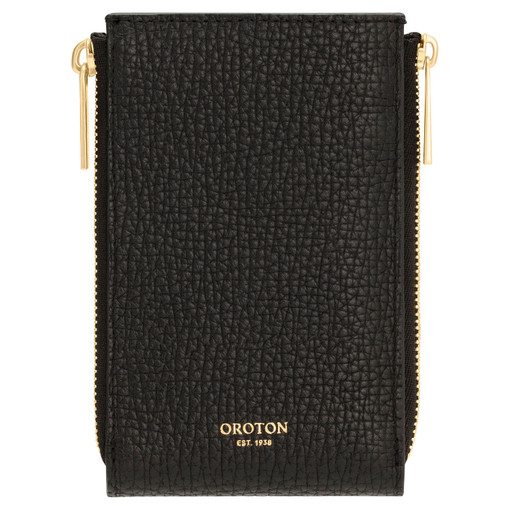 Oroton Maple 4 Credit Card Double Zip Wallet in Black and Pebble Leather for female