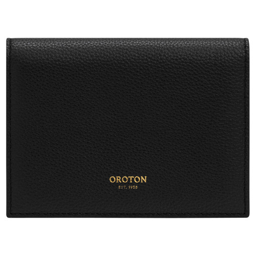Oroton Frida Soft Small Fold Wallet in Black and Pebble Leather for female