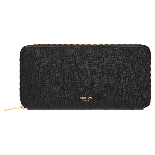 Oroton Maple Slim Book Wallet in Black and Pebble Leather for female