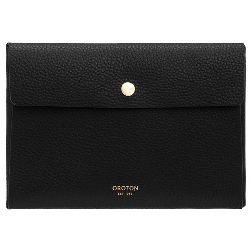 Oroton Margot Small Pouch in Black and Pebble Leather for female