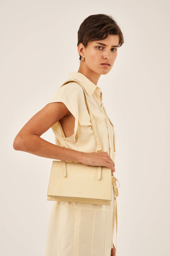 Oroton Margot Medium Shoulder Bag in Pale Vanilla and Pebble Leather for female