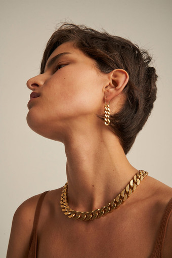 Oroton Noa Drop Hoops in Worn Gold and Brass Base Metal With Worn Gold Finished for female