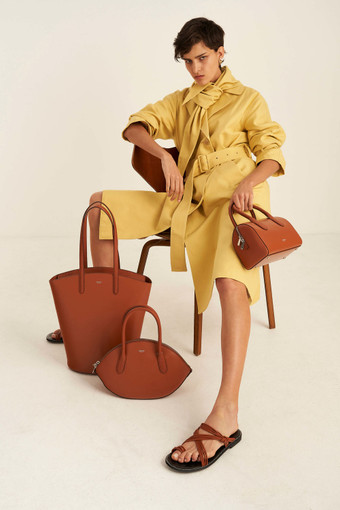 Oroton Muse Mini Bowler Bag in Cognac and Saffiano / Smooth for female