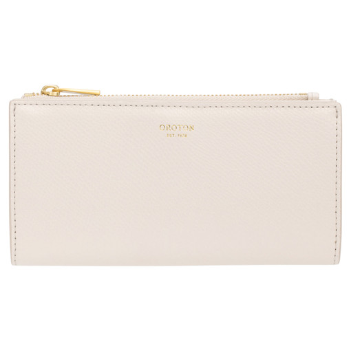 Oroton Muse Slim Zip Wallet in Cream and Saffiano / Smooth for female