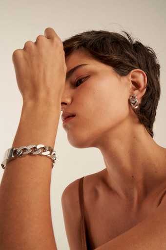 Oroton Noa Bracelet in Worn Silver and Brass Base Metal With Worn Silver Finished for female