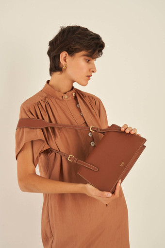 Oroton Margot Medium Shoulder Bag in Whiskey and Pebble Leather for female